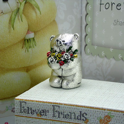 Cornici in argento: Orsetto - 4EVER FRIENDS - Fiori Smaltati h.mm.6
